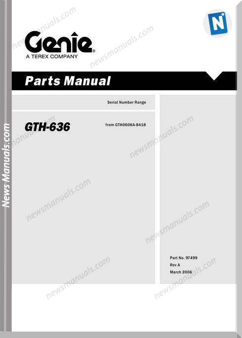 Terex Telehandler Gth-636 Parts Manual