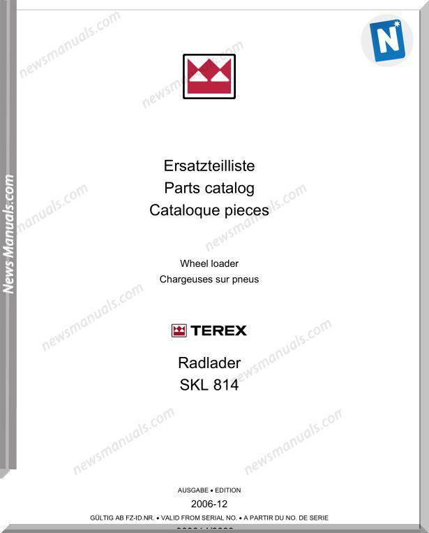Terex Wheel Loaders Skl814-0099-Mit Bilder Part Manual
