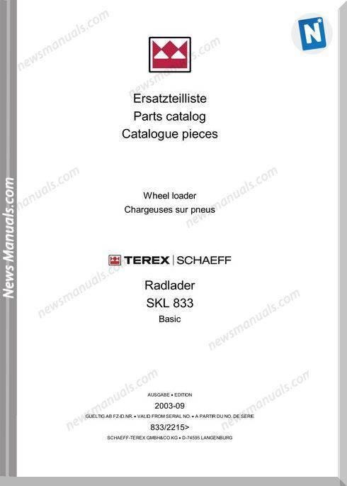 Terex Wheel Loaders Skl833-Basic-Mit Bilder Part Manual