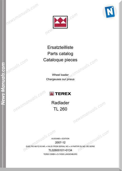 Terex Wheel Loaders Tl260-0101-0134 Bilder Part Manual