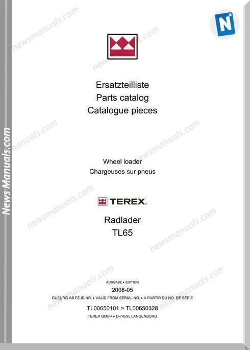 Terex Wheel Loaders Tl65-0101-Mit Bilder Part Manual