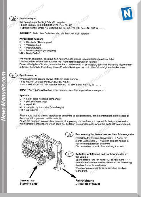 Terex Wheeled Excavators Tw Upgrade 2009 Part Manual
