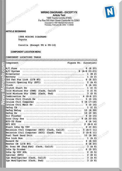 Toyota 1988 Corolla Fwd Wiring Diagrams