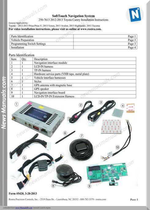 Toyota 2012 Prius Installation Instructions Manual