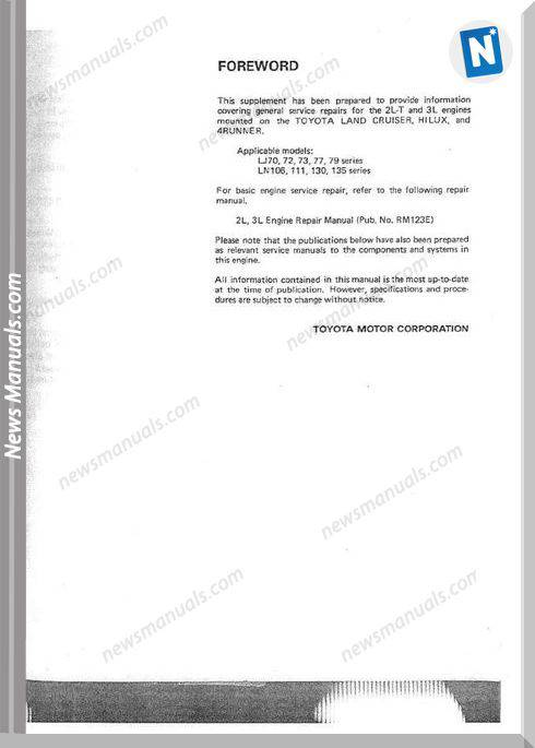 Toyota 2l T 3l Engine Repair Manual