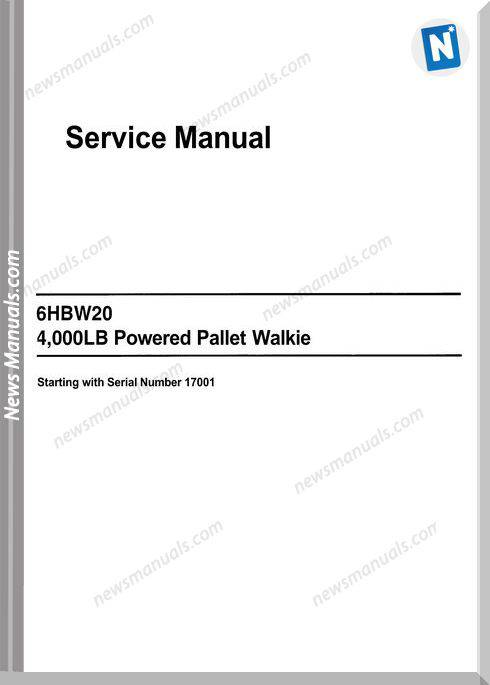 Toyota 6Hbw20 4,000Lb Powered Pallet Service Manual