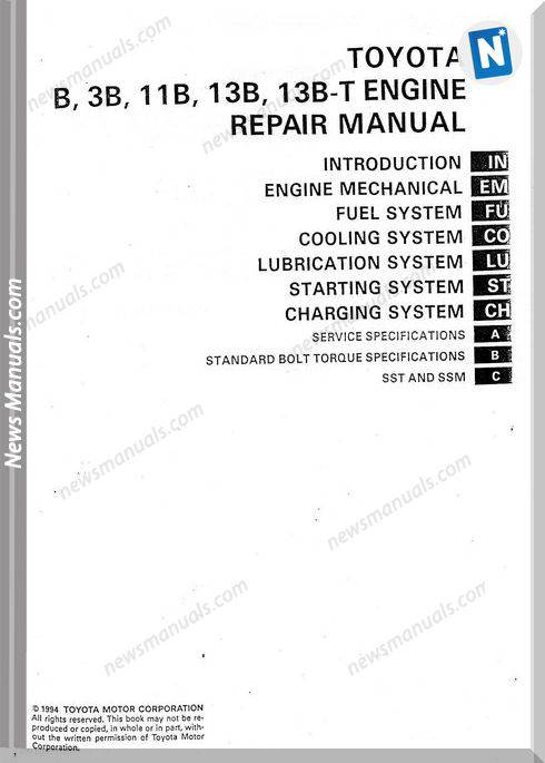 Toyota B 3B 11B 13B 13B T Engine Repair Manual