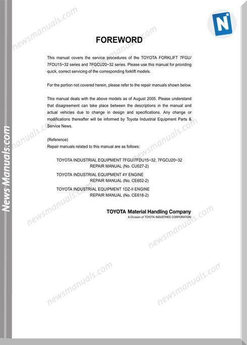 Toyota Bt 7Fgu15-32 7Fgcu20-32 Cu040 Repair Manual