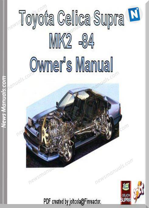 Toyota Celica Supra Mk2 84 Owners Manual