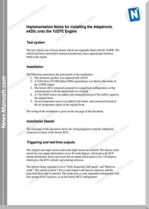 Toyota Engine 1Uzfe Installation Notes