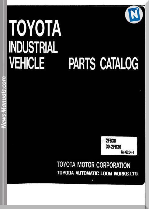 Toyota Forklift 2Fb30 30-2Fb30 Parts Catalogue