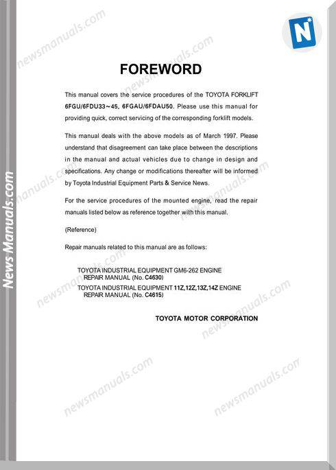 Toyota Forklift 6Fgu16Fdu33-45, 6Fgau16Fdau50 Repair Manual