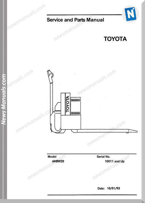Toyota Forklift 6Hbw20 Service And Parts Manual