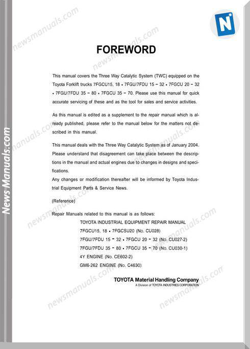 Toyota Forklift 7Fguxx Service Service Repair Manual