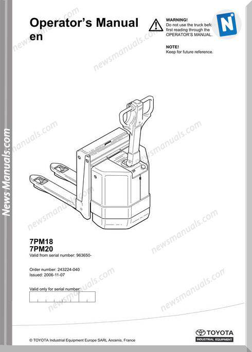 Toyota Forklift 7Pm18 20 Operator Manual