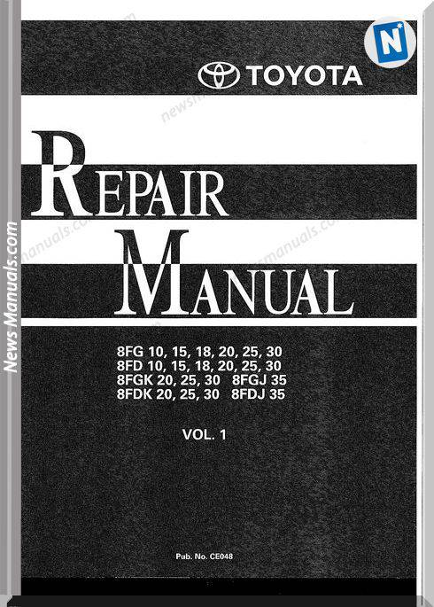 Toyota Forklift 8Fg 8Fd 8Fgk 8Fdk Repair Manual