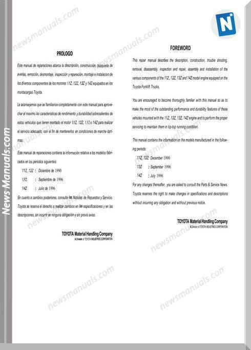 Toyota Forklift Bt 11Z-14Z Engine C4615 Repair Manual