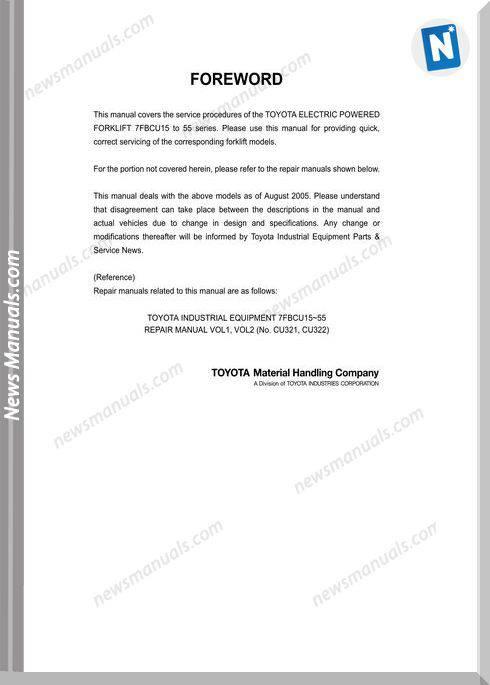 Toyota Forklift Bt 7Fbcu15-55 Ops Repair Manual Cu335