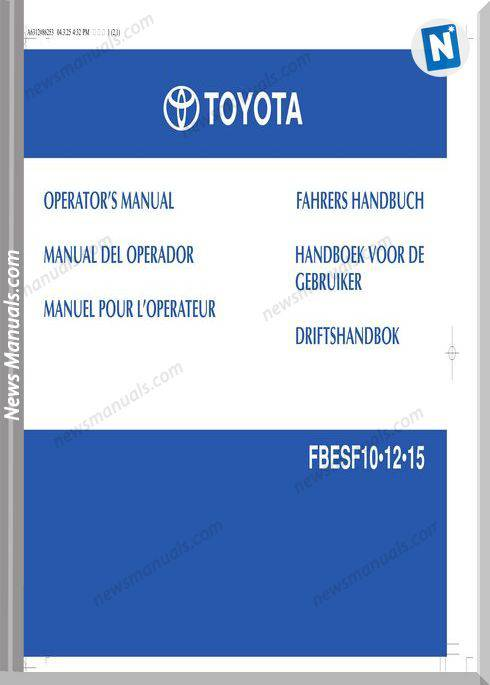 Toyota Forklift Fbe10 12 15 Operator Manual