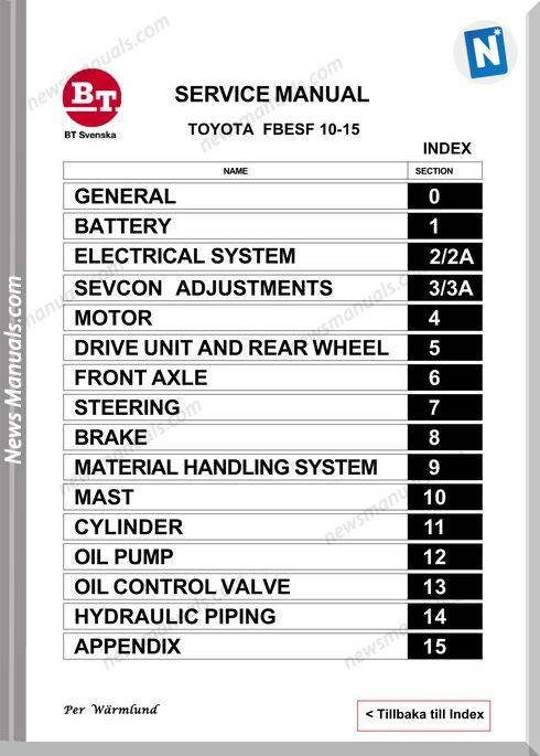 Toyota Forklift Fbesf 10-15 Models Service Manual