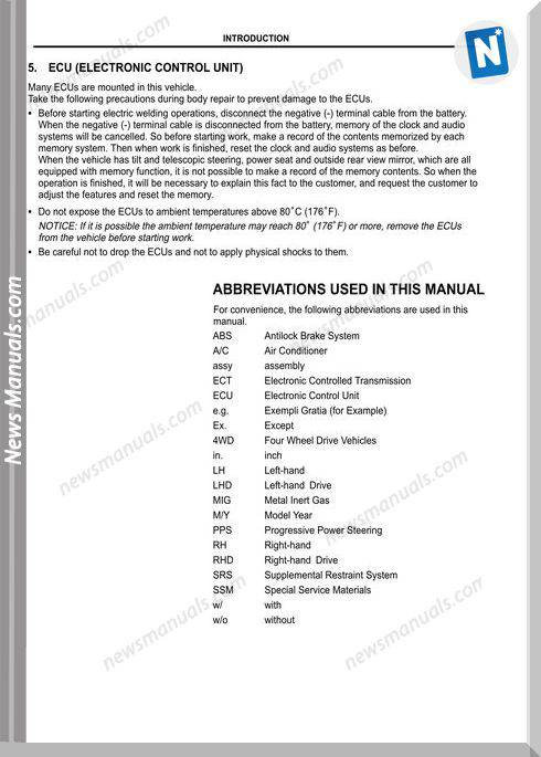 Toyota Land Cruiser 1998 2007 Body Repair Manual