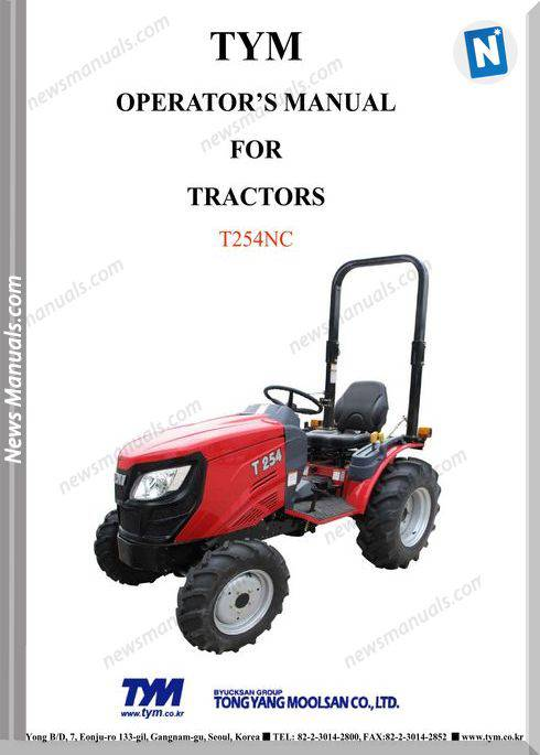 Tym T254Nc Models Operator Manual
