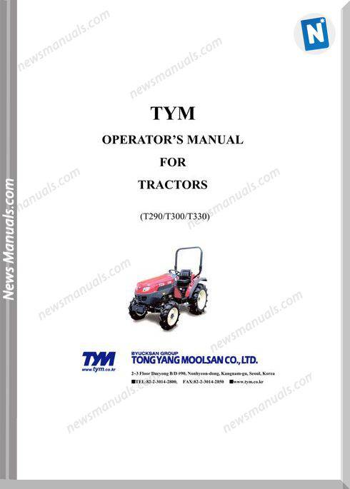 Tym T290 T300 T330 Models Operation Manual