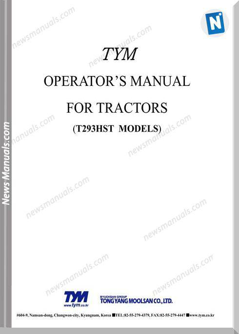 Tym T293 Models Operation Manual