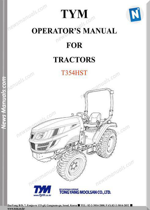 Tym T354Hst Models Operator Manual