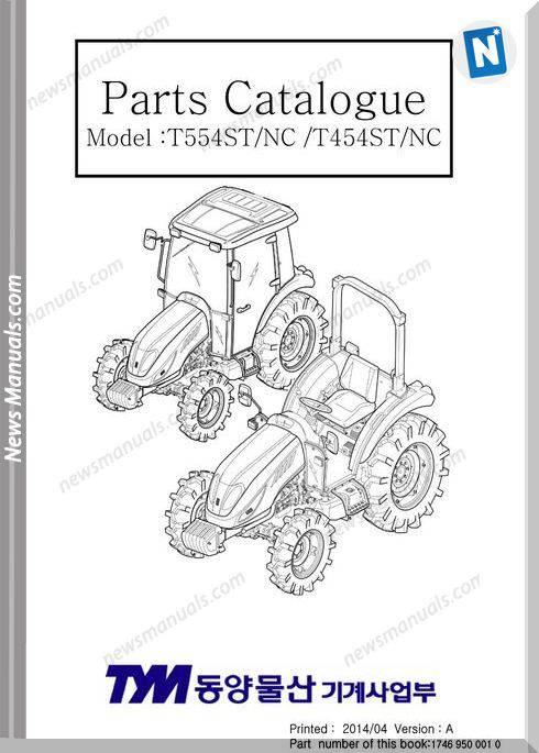 Tym T454 T554Nc Models Parts Manual