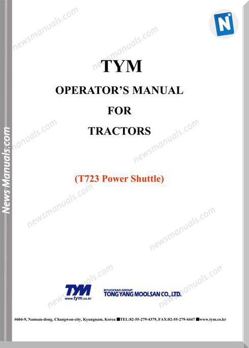 Tym T723Sp Models Operator Manual