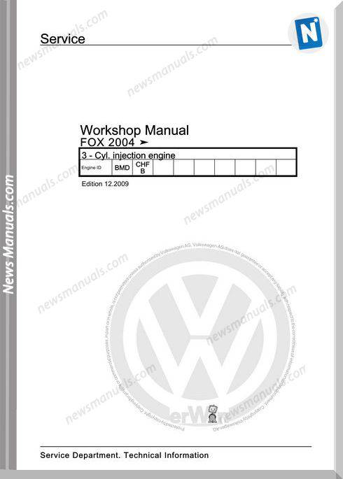 Volkswagen Cyl Injection Engine Fox 2004 Workshop Manual 12 2009