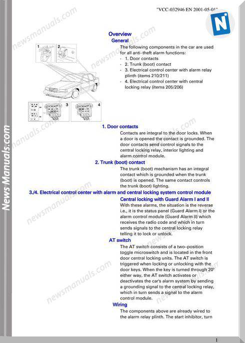 Volvo 850 Guard Alarm Ii Service Manual