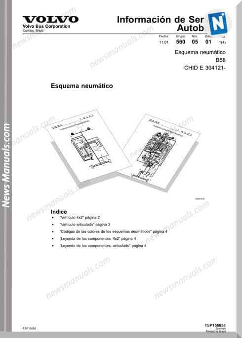 Volvo Bus B58 Pneumatic Wiring Diagram