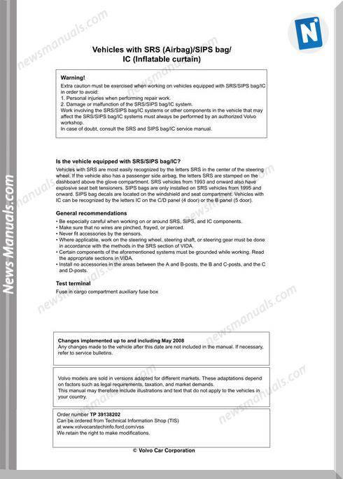 Volvo Supplement V70 08 Xc70 08 S80 07 2009 Wiring Diagram