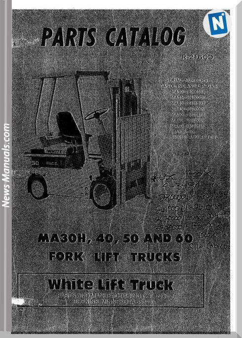 White Fork Lift Ma30H 40 50 60 Parts Catalog
