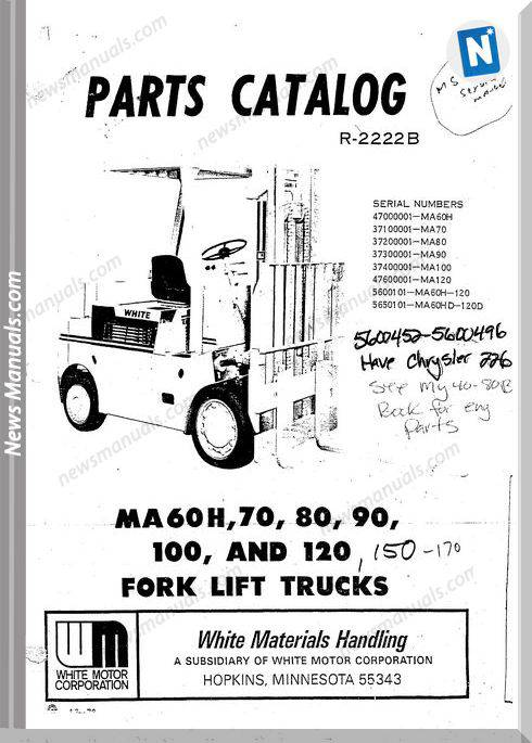 White Fork Lift Ma60H To 100 120 Parts Catalog