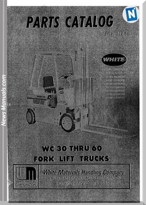 White Fork Lift Wc30 Thru 60 Parts Catalog