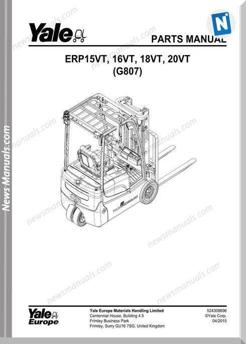 Yale Forklift 524308696-[G807E]-Y-Pm-Uk-En- Part Manual