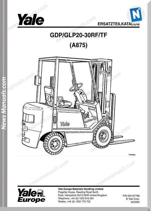 Yale Forklift A875 04 2004 Models English Parts Manual
