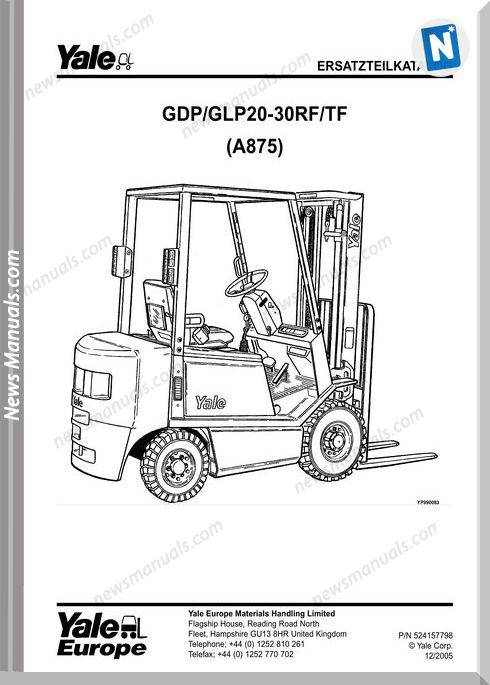 Yale Forklift A875 12 2005 Y-Pm-De Models Part Manual