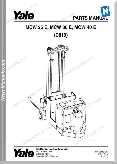 Yale Forklift Mcw-E-25-30-40 (C819) Parts Manual