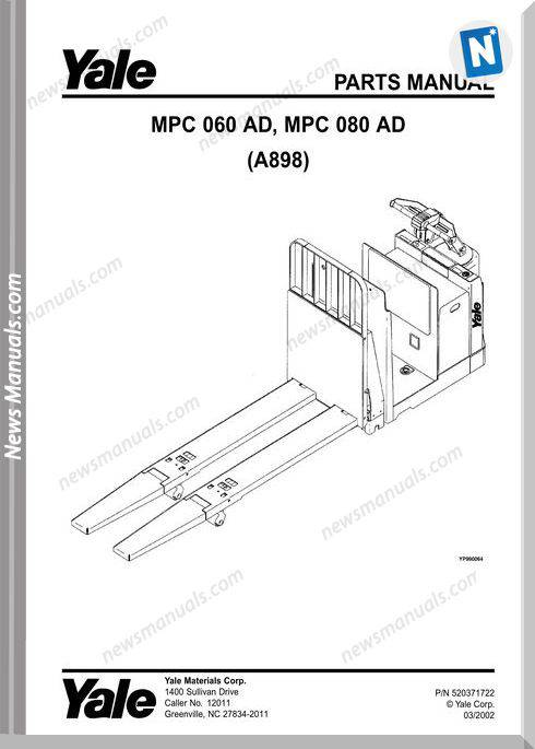 Yale Forklift Mpc 060-080Ad (A898) Parts Manual