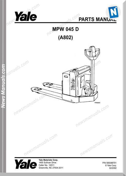 Yale Forklift Mpw 045 D (A802) No 585088701 Part Manual