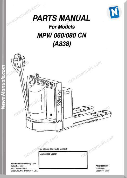 Yale Forklift Mpw 060-080Cn (A838) Parts Manual