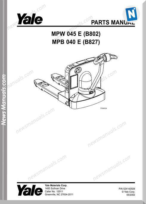 Yale Forklift Mpw-E-045(B802) Mpb-E-040(B827) Parts