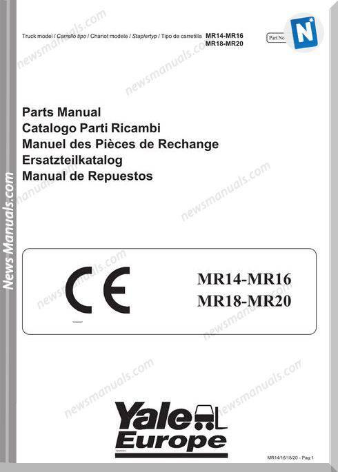 Yale Forklift Mr14-Mr16-Mr18-Mr20(B849) Part Manual