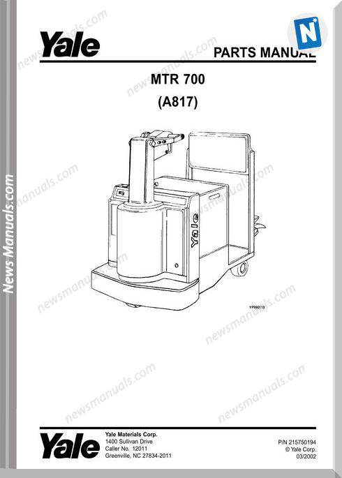 Yale Forklift Mtr 700 (A817) Models Parts Manual
