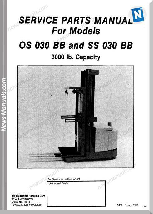 Yale Forklift Os 030 Bb, Ss 030 Bb Parts Manual
