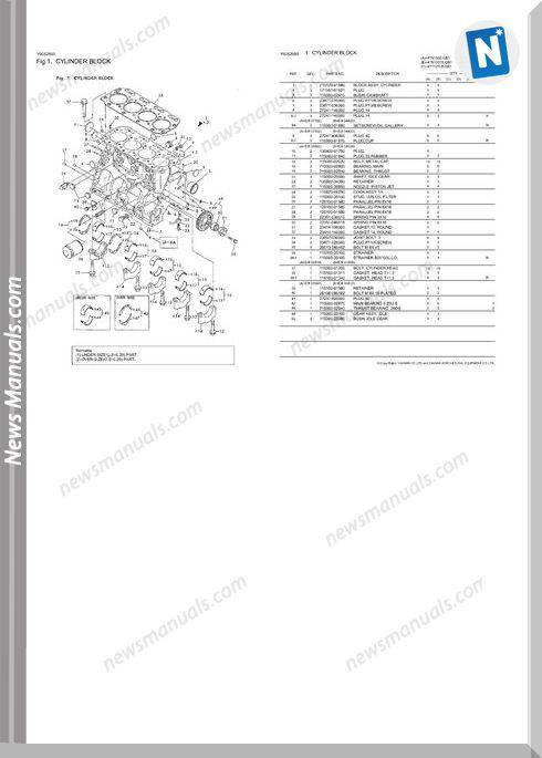 Yanmar 4Tn100Te G1A Engine Parts Catalog